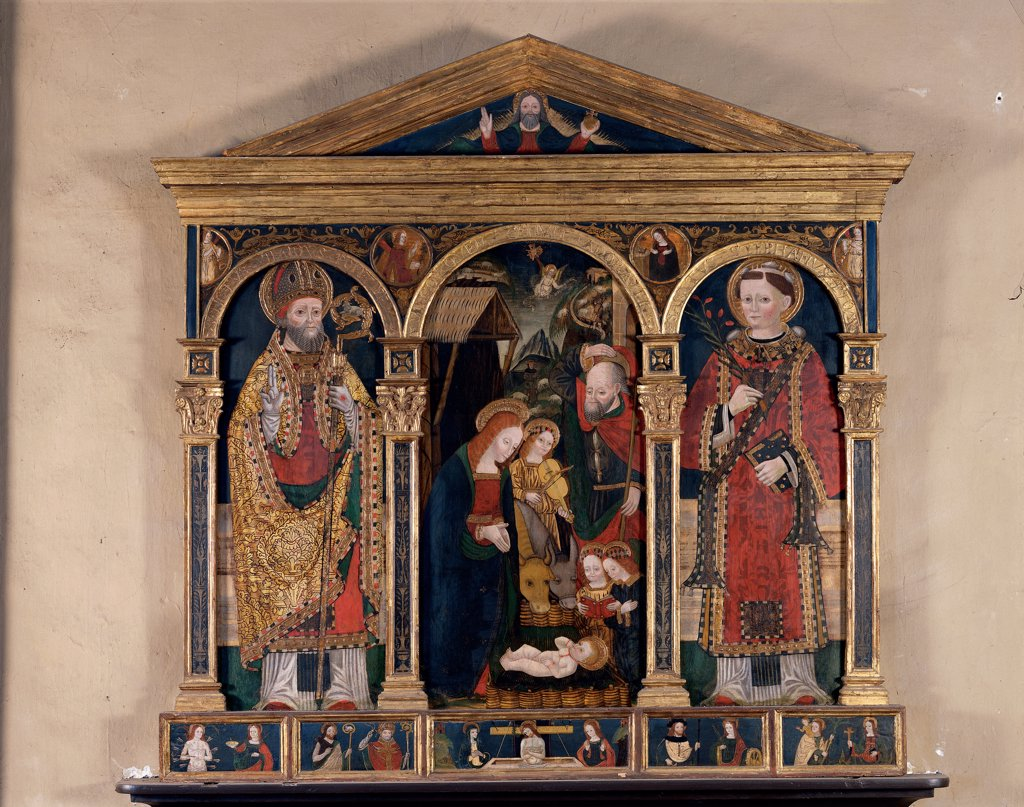 Stock Photo: 1899-32658 Triptych, by attributed Bugatto Zanetto, 15th Century, wood carved, painted and gilded. Italy, Lombardy, Casorate Sempione, Varese, Santa Maria Assunta church. Whole artwork. Triptych predellas compartments gilded wooden frame carving holy figures saints Holy Family Child Jesus: Baby Jesus: Christ Child St Joseph Virgin Mary Madonna red gold blue white.