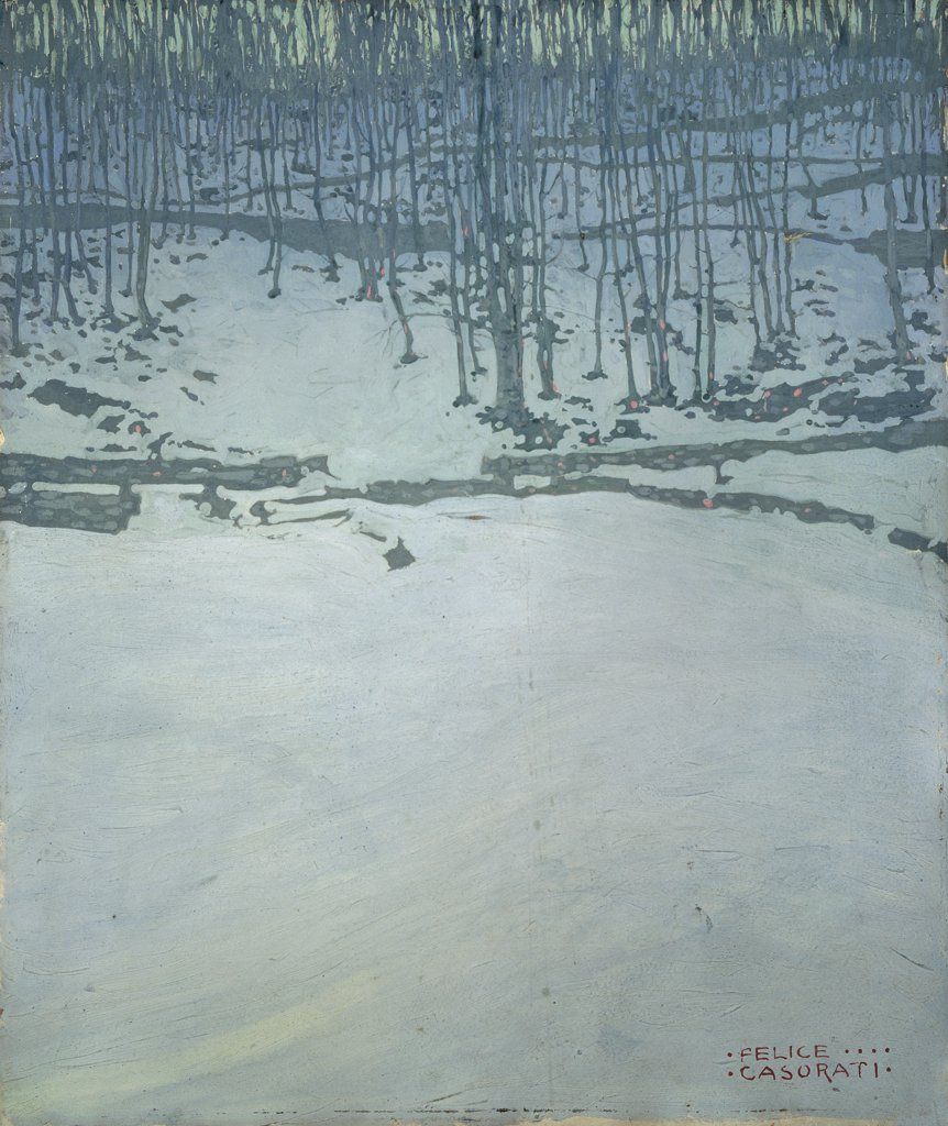 Snowfall, by Casorati Felice, 1913, 20th Century, tempera on board. Italy, Veneto, Venice, Private collection. Whole artwork. Landscape snowfall skeletal trees white gray signature in the bottom right. : Stock Photo