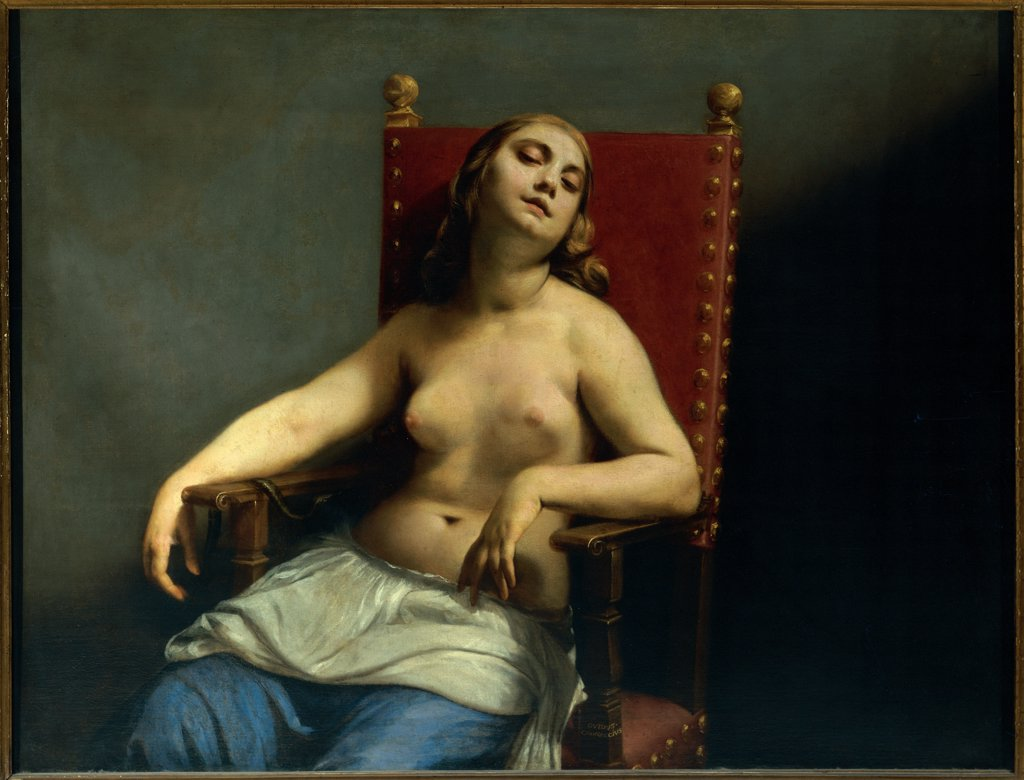 The Death of Cleopatra, by Cagnacci Guido, 1657 - 1659, 17th Century, oil on canvas. Italy, Lombardy, Milan, Brera Art Gallery. Whole artwork. Cleopatra bare chest armchair drapery. : Stock Photo