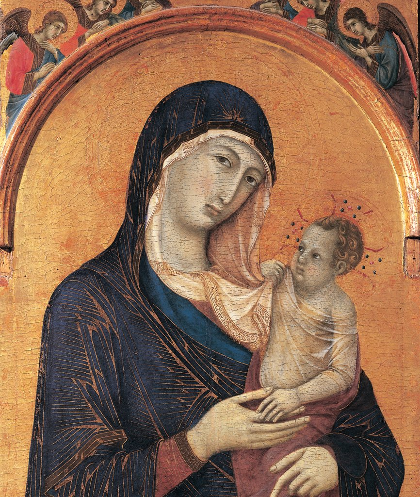 Madonna and Child with Six Angels, by Duccio di Buoninsegna, 1304 - 1311, 14th Century, gold and tempera on panel. Italy. Umbria. Perugia. The National Gallery of Umbria. Detail of Madonna Mary Baby Jesus/Christ Child/Child Jesus gold background angels veil arch : Stock Photo