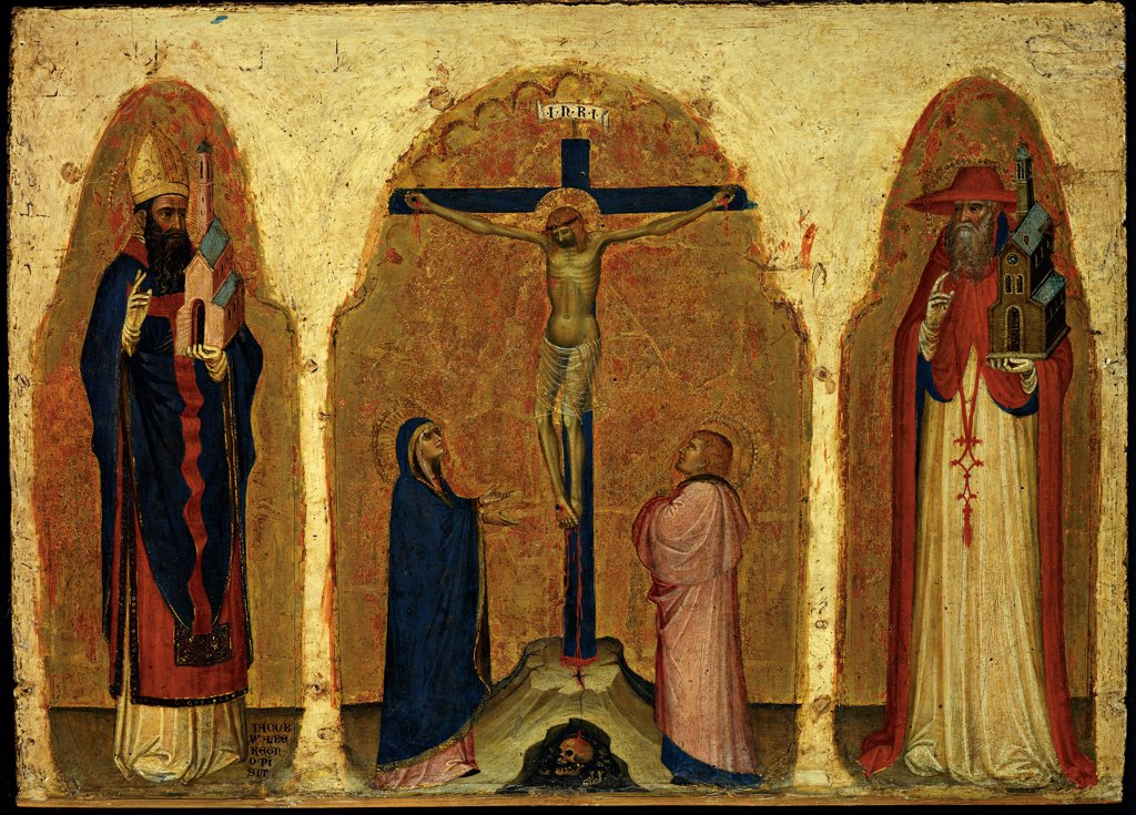 Triptych, by Alberegno Jacobello, 1397, 14th Century, panel with gold ground. Italy, Veneto, Venice, Accademia Galleries. Whole artwork. Crucifixion Christ crucified cross skull Vanitas Virgin Mary Madonna St John apostle evangelist Sts Gregory and Jerome gold white red blue pink. : Stock Photo