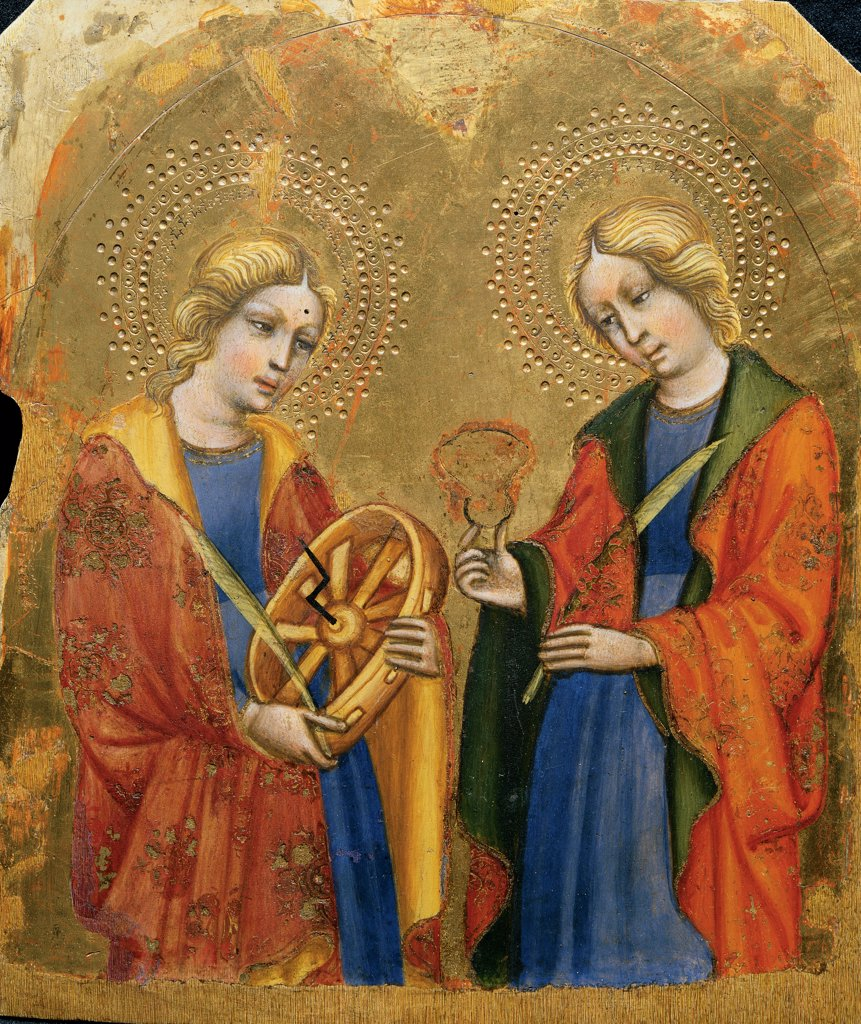 Stock Photo: 1899-32883 St Catherine and St Mary Magdalene, by Jacobello del Fiore, 15th Century, panel. Italy, Veneto, Venice, San Giovanni in Bragora Church. Whole artwork. Saints martyr symbol of martyrdom St Catherine of Alexandria wheel St Magdalene halos: aureoles damask mantles: cloaks flowers yellow green red blue.