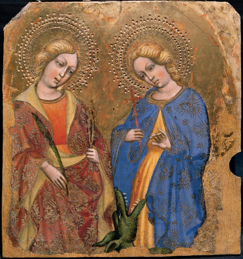 St Apollonia and St Theresa, by Jacobello del Fiore, 15th Century, panel. Italy, Veneto, Venice, San Giovanni in Bragora Church. Whole artwork. Women saints martyrs palm of martyrdom St Apollonia tongs damask mantles: cloaks flowers monster gold violet: purple red yellow blue green gold background halos: aureoles. : Stock Photo