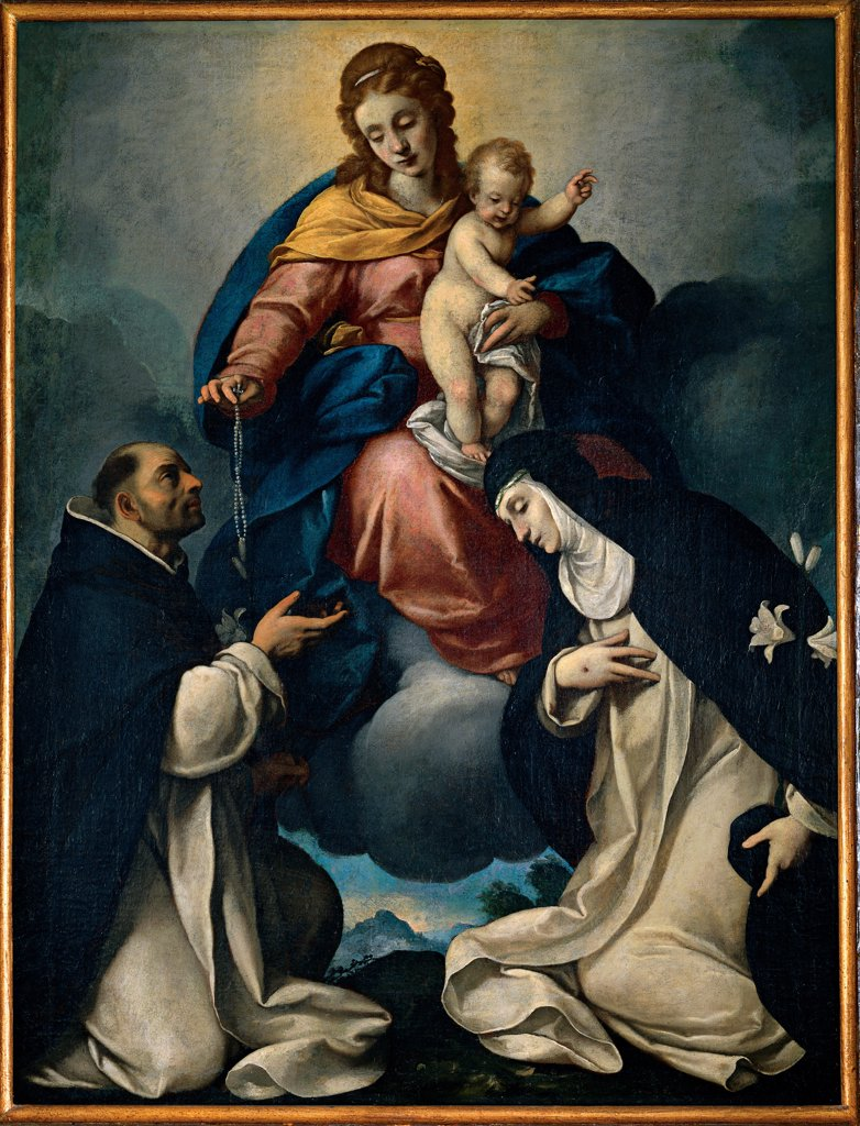 Our Lady of the Rosary, by Ceresa Carlo, 1609 - 1679, 17th Century, canvas. Italy, Lombardy, Soresina, Cremona, San Francesco al Dosso Church. Whole artwork. Blessed Virgin of the Rosary with Sts Dominic and Catherine of Siena clouds drapery light yellow red blue light blue: azure white black. : Stock Photo
