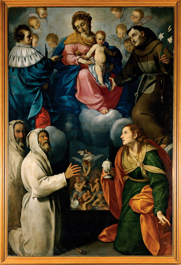 Stock Photo: 1899-32894 Madonna and Child with St Anthony, St Mary Magdalene, Disciplini and Purging Souls, by Ceresa Carlo, 1609 - 1679, 17th Century, canvas. Italy, Lombardy, Brambilla, Bergamo, Parish Church. Whole artwork. Madonna with Child St Anthony St Mary Magdalene Disciplini and purging souls angels clouds light blue: azure blue white green orange brown dark: brown shades: tones: hues pink red.