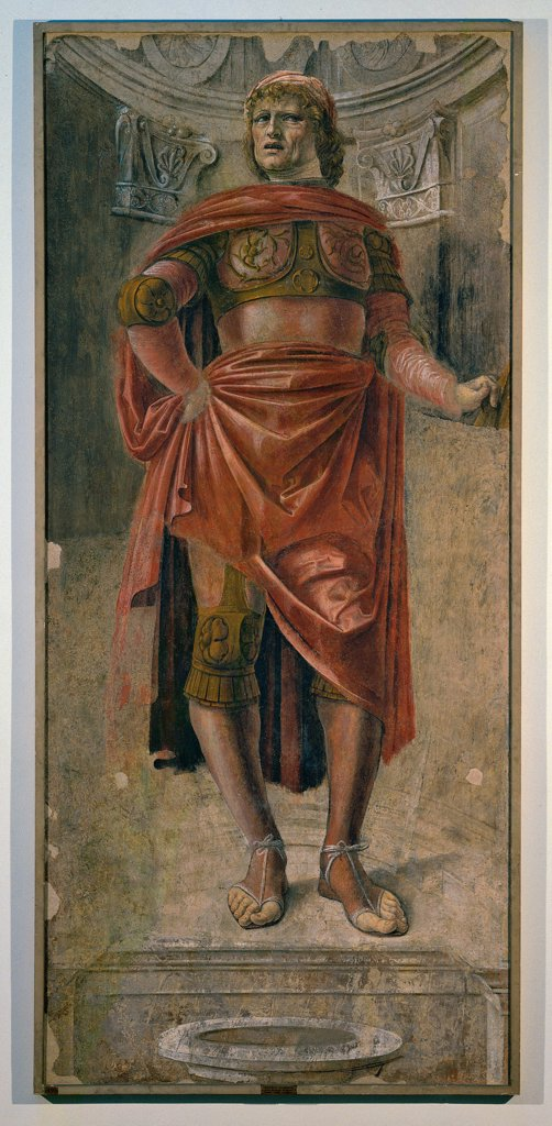 Man with a Broadsword, by Donato di Pascuccio di Antonio known as Bramante, 1480, 15th Century, fresco torn down. Italy, Lombardy, Milan, Brera Art Gallery. Whole artwork. Man mantle: cloak drapery armor: cuirass sandals classical outfits painted niche red gold white gray. : Stock Photo