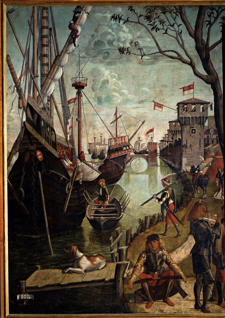 Legend of St Ursula. Arrival in Cologne, by Carpaccio Vittore, 1490, 15th Century, oil on canvas. Italy, Veneto, Venice, Accademia Art Galleries. Whole artwork. Group heathen: unbelievers young warrior sitting pier dog river boat ships bank shore group men warriors soldiers armor: cuirass swords. : Stock Photo