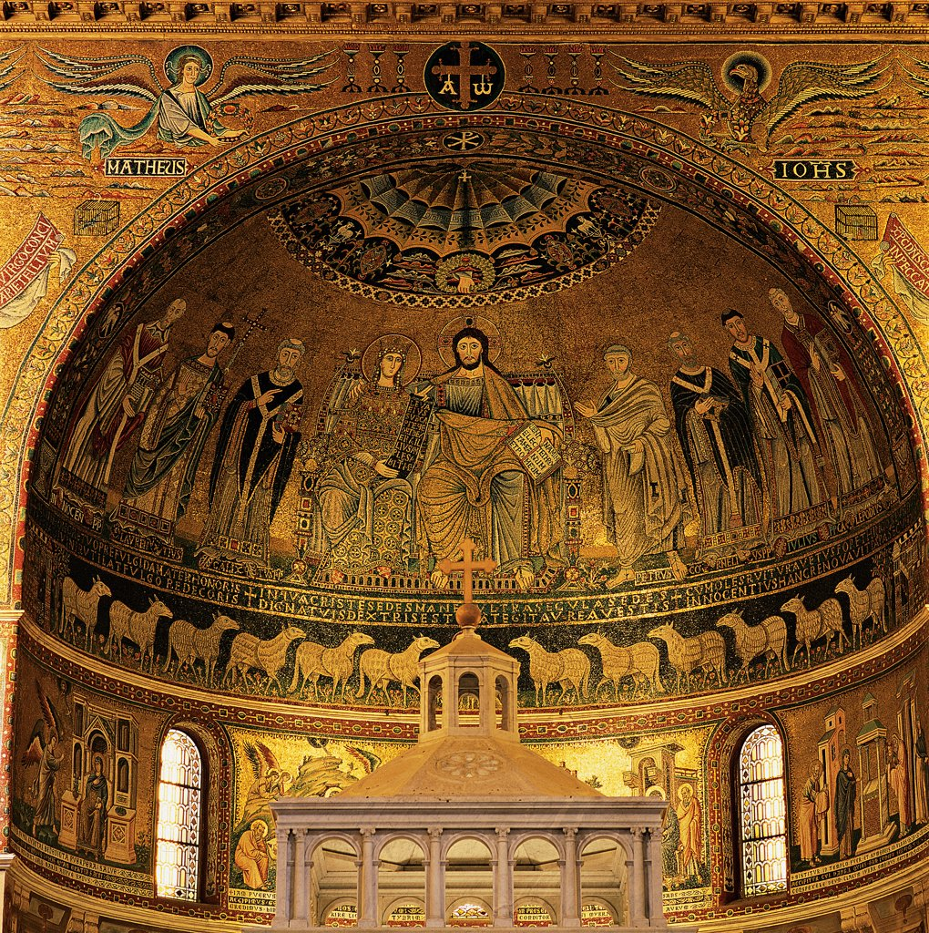 Enthroned Madonna, Christ and the Apostles. Stories of the Virgin. Christ and Mary Figure of the Church, by Pietro de' Cerroni known as Pietro Cavallini, 13C artist, 1291, 13th Century, mosaic. Italy, Lazio, Rome, Santa Maria in Trastevere Church. Whole artwork. Front view of the apse concha: conch the Virgin Mary throne Jesus Christ the Apostles: Disciples the Annunciation the Nativity the Adoration of the Magi the Presentation in the Temple lambs gold mosaic (PHOTOGRAPHI. : Stock Photo
