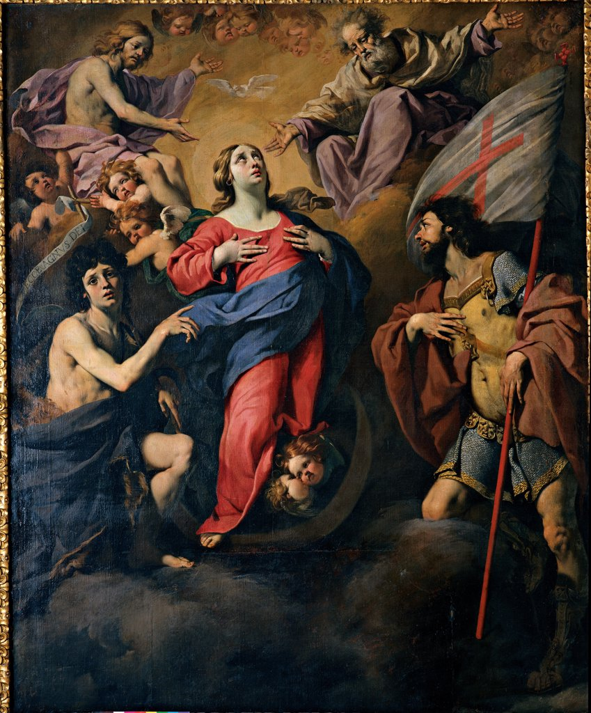Stock Photo: 1899-32930 Our Lady of the Assumption between Sts John the Baptist and George, by Ferrari Luca, 17th Century, Unknow. Italy, Emilia Romagna, Modena, Estense Gallery. Whole artwork. The Virgin between Sts John the Baptist and George, the Trinity, angels, God. Flag: standard: banner red cross on a white background blue red yellow violet: purple dark: brown shades: tones: hues black.