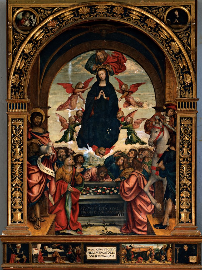 Stock Photo: 1899-32943 Our Lady of the Assumption of the Wool Merchants, by Ferrari Defendente, 1511 - 1535, 16th Century, panel. Italy, Piemonte, Cirie, Turin, San Giuseppe Church. Whole artwork. Our Lady of the Assumption of the Wool Merchants round arches angels Madonna Virgin assumption sepulcher inscription St John the Baptist on the left knight: rider horse predella with episodes.