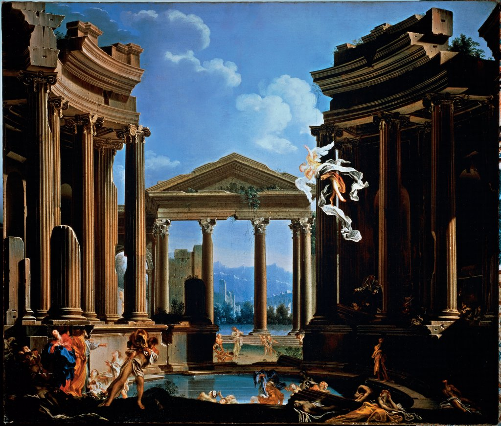 Stock Photo: 1899-32946 Probatica Piscina (Pool of Bethesda), by De Ferrari Gregorio, 17th Century, oil on canvas. Italy, Lombardy, Milan, Private collection. Whole artwork. Probatica piscina (Pool of Bethesda) classical buildings ruins winged figure fluted columns Corinthian capitals tympanum: gable small human figures clouds light shadow.
