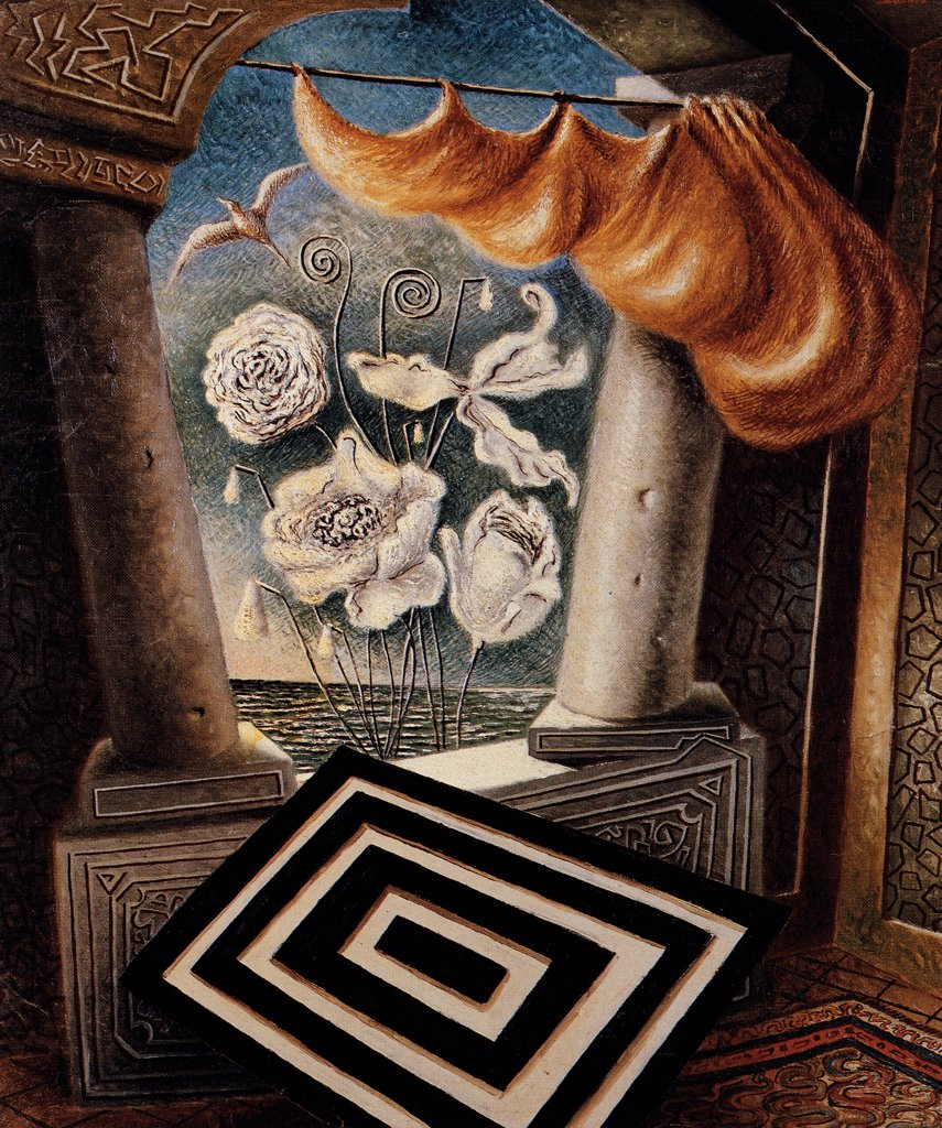 Fleurs Etranges, by Savinio Alberto (Andrea de Chirico), 1930, 20th Century, oil on canvas. Italy, Lazio, Rome, Private collection. Whole artwork. Surreal dream vision flowers window column curtain inflated by the wind squared panel board game white black brown yellow blue. : Stock Photo