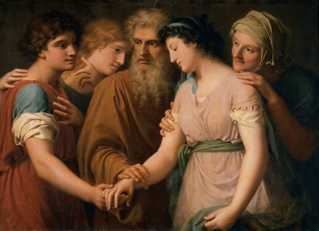 The Marriage of Sarah, by Landi Gaspare, 18th Century, canvas. Italy, Emilia Romagna, Parma, National Gallery of Art. Young woman wife Sarah wedding: marriage old hand young man. : Stock Photo