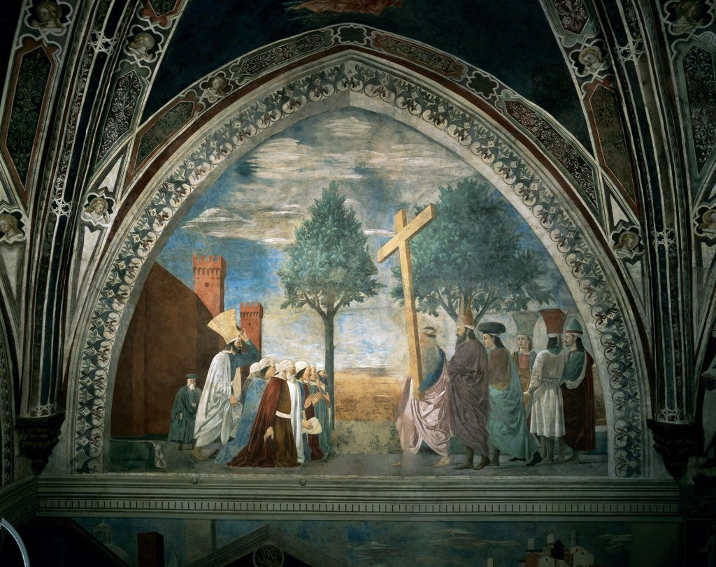 Legend of the Cross of Exaltation of the Cross, by Pietro di Benedetto dei Franceschi known as Piero della Francesca, 1452 - 1462, 15th Century, fresco. Italy, Tuscany, Arezzo, San Francesco church, Major Chapel, left wall, summit lunette. Whole artwork. Ogive: pointed arch Legend of the Cross exaltation of the Cross crucifix figures prayer walls fortified city castle priests. : Stock Photo