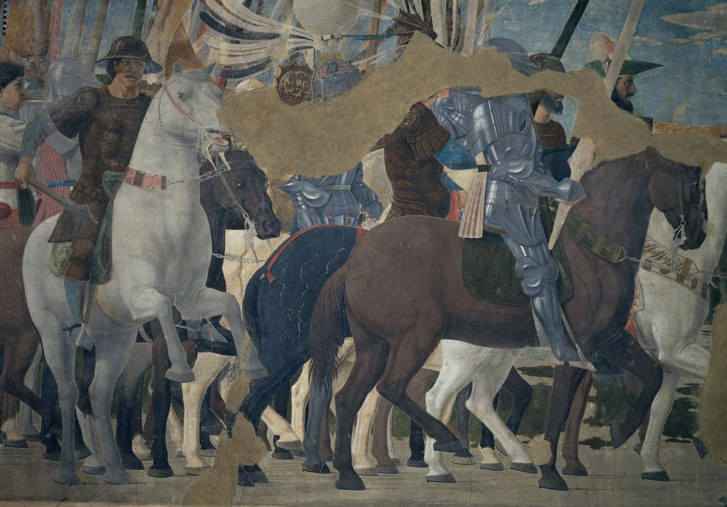 Legend of the True Cross of Victory of Constantine, by Pietro di Benedetto dei Franceschi known as Piero della Francesca, 1452 - 1462, 15th Century, fresco. Italy, Tuscany, Arezzo, San Francesco Church. Detail. Group of warriors, including the knight: rider with armor: cuirass riding a brown horse alongside Constantine in the foreground. : Stock Photo