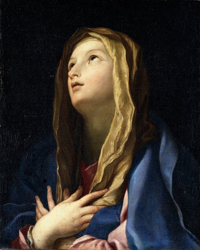 The Virgin Mary , by Cignani Carlo, 17th Century, oil on canvas. , Private collection. Whole artwork. Virgin Mary face light woman veil hands crossed on the chest yellow blue pink dark background black. : Stock Photo
