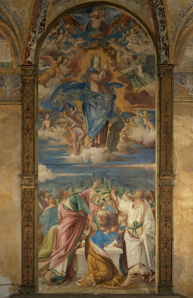 Stock Photo: 1899-32998 The Assumption and Crowning of the Virgin Mary, by Civerchio Vincenzo, 16th Century, fresco. Italy, Lombardy, Travagliato, Brescia, Santa Maria dei Campi Church. Whole artwork. The Assumption and the Crowning of the Virgin Mary angels clouds God the Father Apostles: Disciples hill city buildings drapery white blue pink green yellow light.