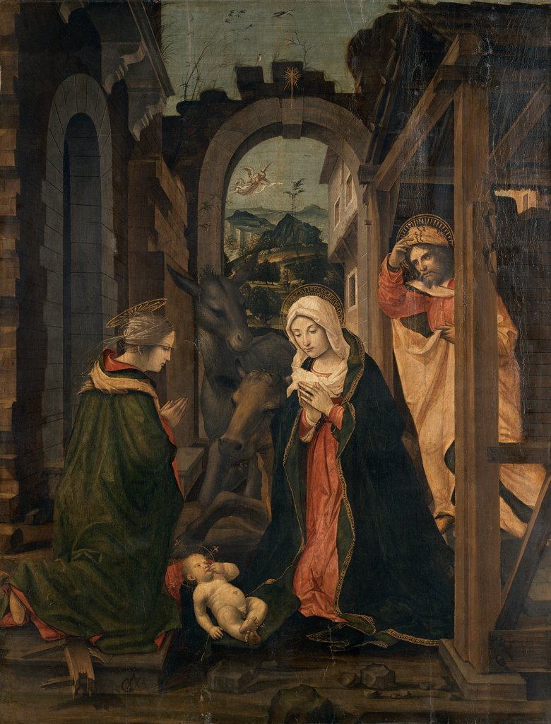 Stock Photo: 1899-32999 Nativity with St Catherine, by Civerchio Vincenzo, 1525 - 1530, 16th Century, oil on panel. Italy, Lombardy, Milan, Brera Art Gallery. Whole artwork. The Nativity with St Catherine Madonna San St Joseph Infant Jesus: Christ Child: Baby Jesus: Child Jesus Holy Family St Catherine cabin: hut arches ruins yellow red orange blue green.