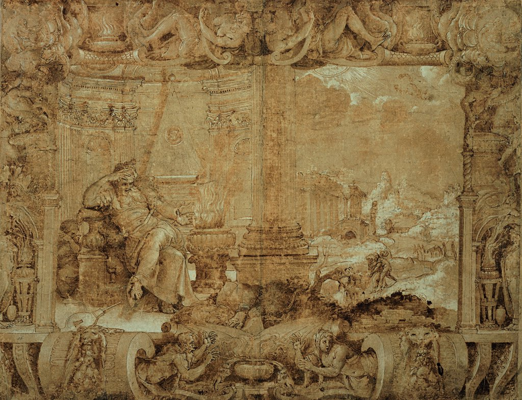 Winter, by De' Rossi Francesco know as Cecchino Salviati, 1548, 16th Century, Unknow. Italy, Tuscany, Florence, Uffizi Gallery, Drawings and Prints Cabinet. Whole artwork. Preliminary drawing for the cartoon of a tapestry depicting winter, half of which recalls the architectural structure of the Chigi Chapel in Rome.. : Stock Photo