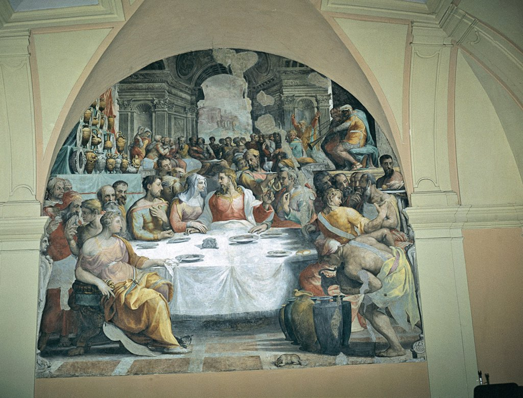 The Marriage at Cana, by De' Rossi Francesco know as Cecchino Salviati, 1552 - 1553, 16th Century, fresco. Italy, Lazio, Rome, San Salvatore in Lauro Church. Whole artwork. Wedding: Marriage feast banquet table companions: guests food: courses: dishes table crockery: pottery dishes Jesus Christ Virgin Mary classical arch. : Stock Photo