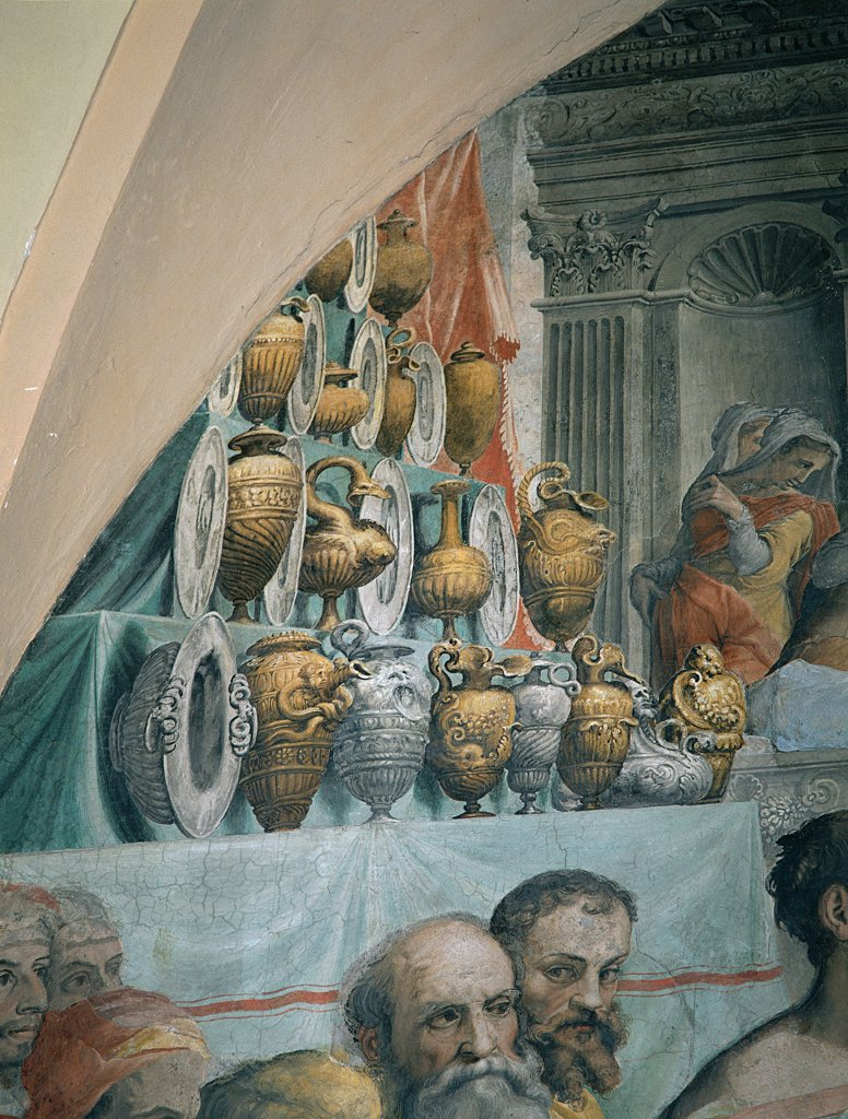 The Marriage at Cana, by De' Rossi Francesco know as Cecchino Salviati, 1552 - 1553, 16th Century, fresco. Italy, Lazio, Rome, San Salvatore in Lauro Church. Detail. Dishes embossed amphorae above left. : Stock Photo