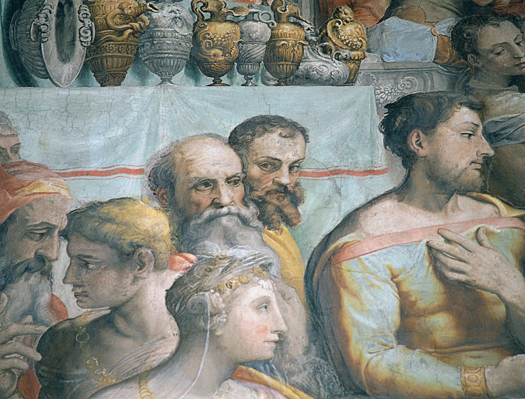 The Marriage at Cana, by De' Rossi Francesco know as Cecchino Salviati, 1552 - 1553, 16th Century, fresco. Italy, Lazio, Rome, San Salvatore in Lauro Church. Detail. Banquet men women heads table companions: guests on the left. : Stock Photo