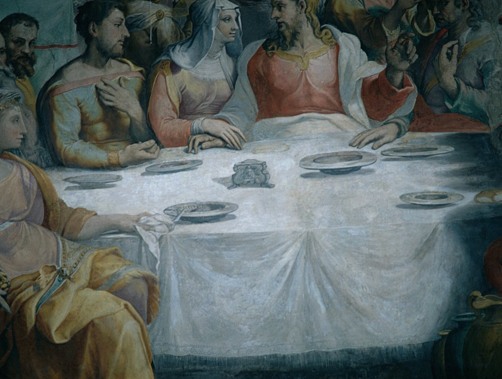 The Marriage at Cana, by De' Rossi Francesco know as Cecchino Salviati, 1552 - 1553, 16th Century, fresco. Italy, Lazio, Rome, San Salvatore in Lauro Church. Detail. Laid table crockery: pottery dishes table companions: guests Jesus Christ Virgin Mary Mother Mary. : Stock Photo