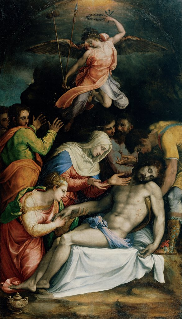 Mourning over the Dead Christ, by De' Rossi Francesco know as Cecchino Salviati, 1539 - 1541, 16th Century, oil on canvas. Italy, Lombardy, Milan, Brera Art Gallery. Whole artwork. Mourning over the Dead Christ corpse: dead body Virgin Mary Mother Mary grief despair Mary Magdalene urn unguent: ointment men St John the Apostle angel clouds sky black glimmer light green pink blue white red. AFT. : Stock Photo