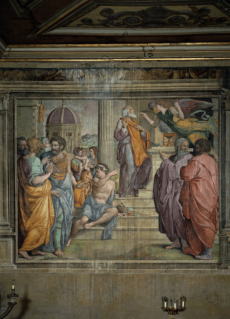 Baptism of Christ, by De' Rossi Francesco know as Cecchino Salviati, 1538, 16th Century, fresco. Italy, Lazio, Rome, San Giovanni Decollato Oratory. Whole artwork. Baptism of Jesus Christ young man boys doctors of the temple debate stairs temple angel old: aged man St Joseph father background dome. : Stock Photo