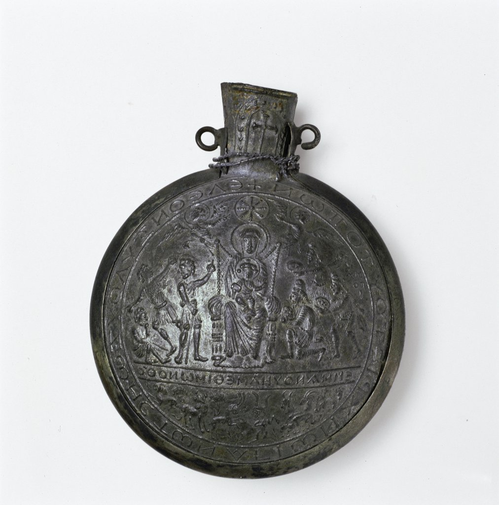 Ampulla from the Holy Land, by Unknown, 6th Century, lead and tin. Italy, Lombardy, Monza, Brianza, Cathedral. Whole artwork. Holy Land Ampulla inscription cross Christian symbols Madonna Enthroned with Child believers. : Stock Photo