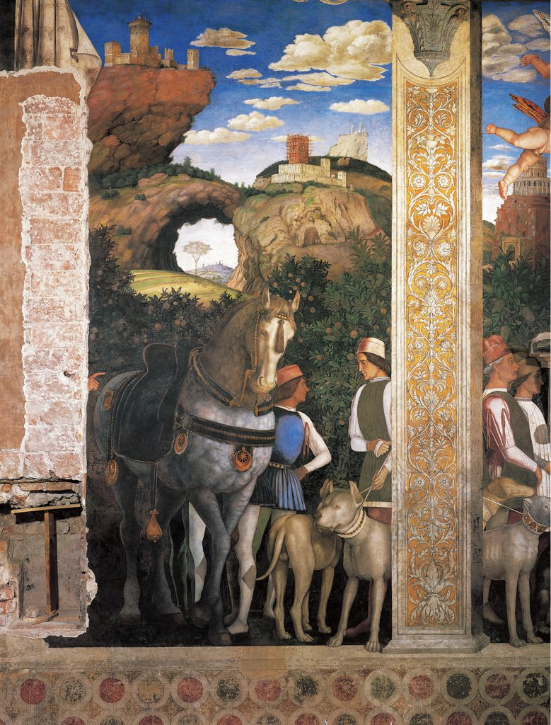 Decoration of the Camera degli Sposi (Camera Picta), by Mantegna Andrea, 1465 - 1474, 15th Century, fresco and dry tempera. Italy: Lombardy: Mantua: Ducal Palace. Detail. Western wall. Ludovico Gonzaga meets his sons Federico and Francesco. Left-hand and central episode/scene. Sons, relatives, horse, dogs, view, landscape. : Stock Photo