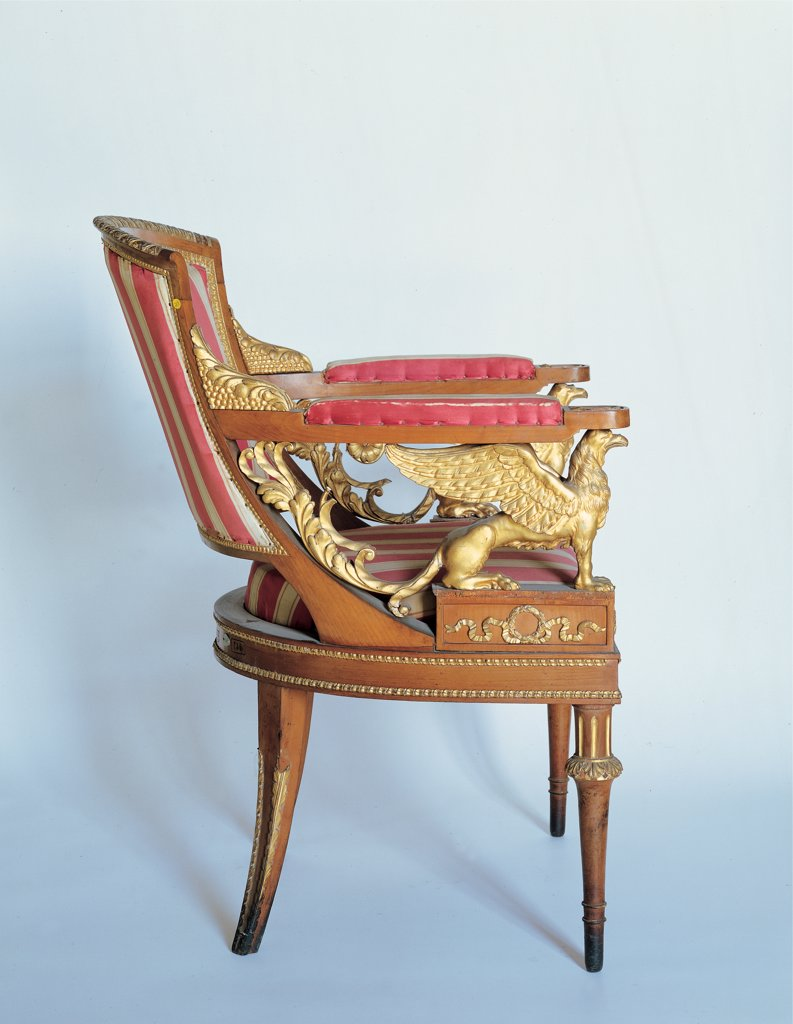 Armchair, by Casadoro Giuseppe, 1812 - 1812, 19th Century, cherry-wood partially carved and gilded, fabric. Italy, Veneto, Stra, Venice, Villa Pisani know as Nazionale. Whole artwork. Side view gilded floral volutes red silk decorations griffin. : Stock Photo