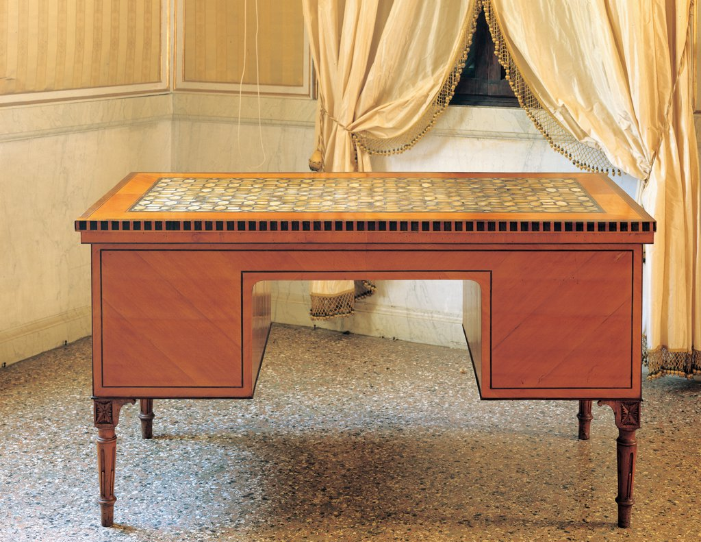 Stock Photo: 1899-33040 Desk, by Casadoro Giuseppe, 1814 - 1814, 19th Century, legno impiallacciato di ciliegio e intarsiato in madreperla e le. Italy, Veneto, Stra, Venice, Villa Pisani know as Nazionale. Whole artwork. Front view desk furniture furnishings fittings design.