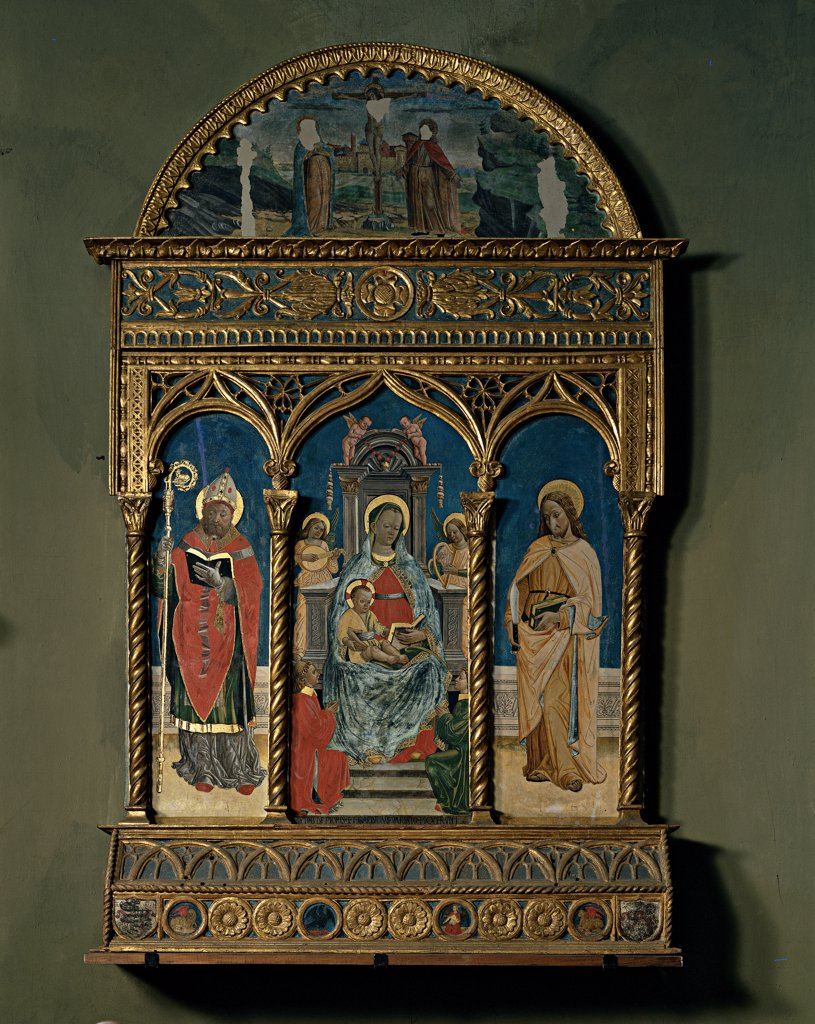 Stock Photo: 1899-33063 Altarpiece, by Galdino da Varese , Jacobus de Prioris, 1486, 15th Century, wood carved, painted and gilded. Italy, Piemonte, Cannobio, Verbania, San Vittore Collegiate Church. Whole artwork. Altarpiece gilded wooden frame carving Madonna Enthroned Virgin Mary Infant Jesus: Christ Child: Baby Jesus: Child Jesus musician angels panels Saints lunette Crucifixion.