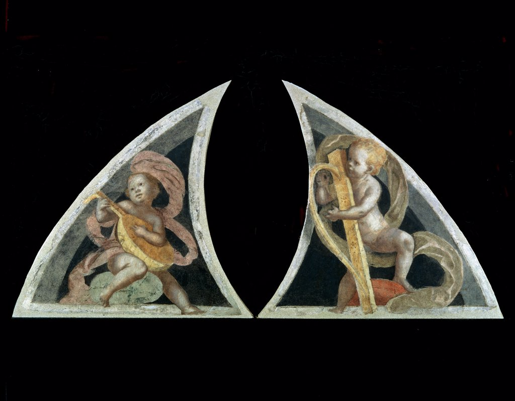 Angel with Harp and Angel with Mandola, by Ferrari Gaudenzio, 1539, 16th Century, fresco transferred to canvas, wooden frame. Italy, Lombardy, Milan, Brera Art Gallery. Whole artwork. Side half-lunettes musician angels harp mandola scrolls: cartouches green yellow pink. : Stock Photo