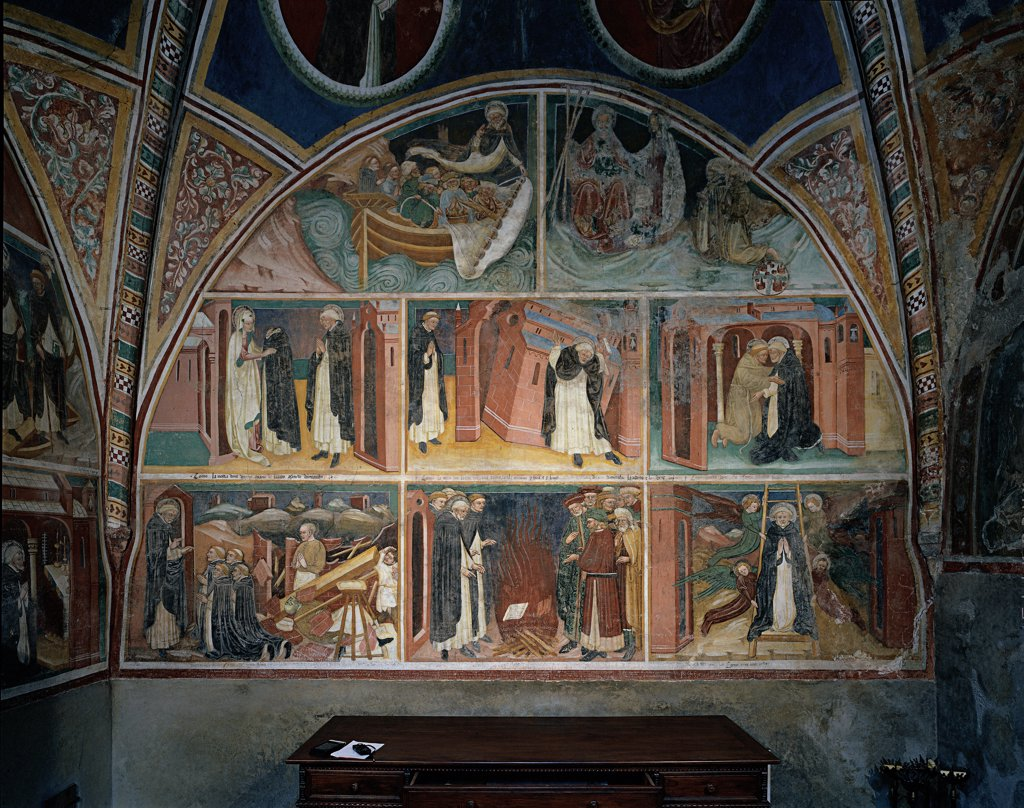 Stock Photo: 1899-33086 Scenes from the Life of St Dominic, by workshop Bembo (fratelli), 15th Century, fresco. Italy, Lombardy, Tavernole sul Mella, Brescia, San Filastrio Church. Whole artwork. Frescoed wall lunettes panels scenes life of St Dominic small figures pendentives frames.