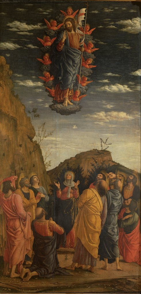 Stock Photo: 1899-33107 Triptych of the Uffizi. Ascension of the Christ, by Mantegna Andrea, 1460, 15th Century, tempera on panel. Italy, Tuscany, Florence, Uffizi Gallery. Whole artwork. Jesus Christ Raised into Heaven cherubs crossed standard: banner: flag sepulcher Apostles: Disciples Virgin Mary Madonna landscape rocks sky clouds red blue yellow pink white.