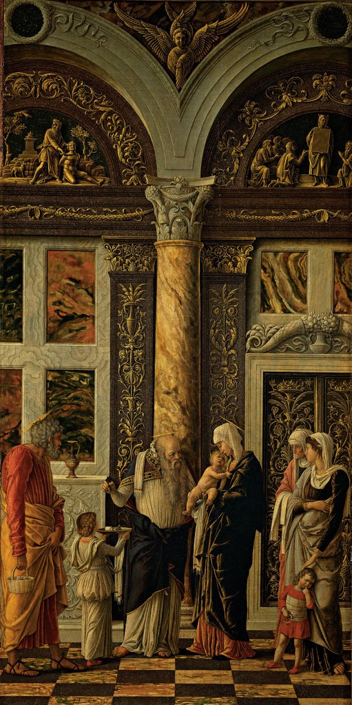 The Uffizi Triptych. Circumcision, by Mantegna Andrea, 1464 - 1470, 15th Century, tempera on panel. Italy, Tuscany, Florence, Uffizi Gallery. Whole artwork. The Circumcision parents Holy Family Madonna St Joseph Jesus Christ Simeon priest temple column decoration. : Stock Photo