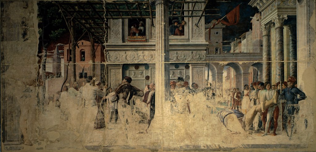 Stories of St James and St Christopher, by Mantegna Andrea, 1454 - 1457, 15th Century, detached fresco replaced in situ. Italy, Veneto, Padua, Eremitani Church, Ovetari Chapel. Whole artwork. Martyrdom of St Christopher and transport of his corpse.. : Stock Photo