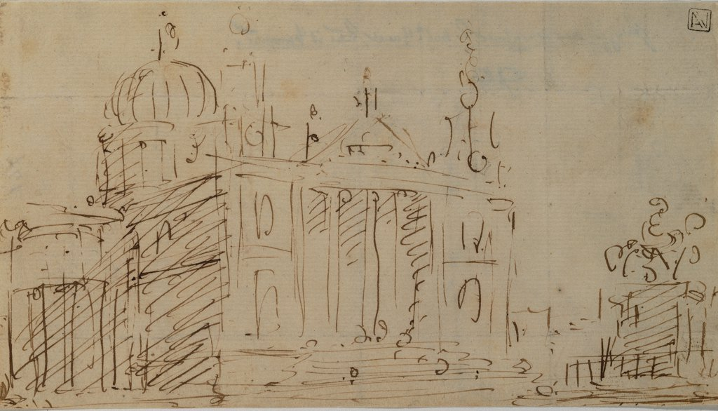 Stock Photo: 1899-33130 Capriccio with Church and Equestrian Monument, by Canal Giovanni Antonio known as Canaletto, 1754 - 1754, 18th Century, pen and brown ink. Italy, Veneto, Venice, Accademia Art Galleries. Recto. Capriccio with a church and an equestrian monument.