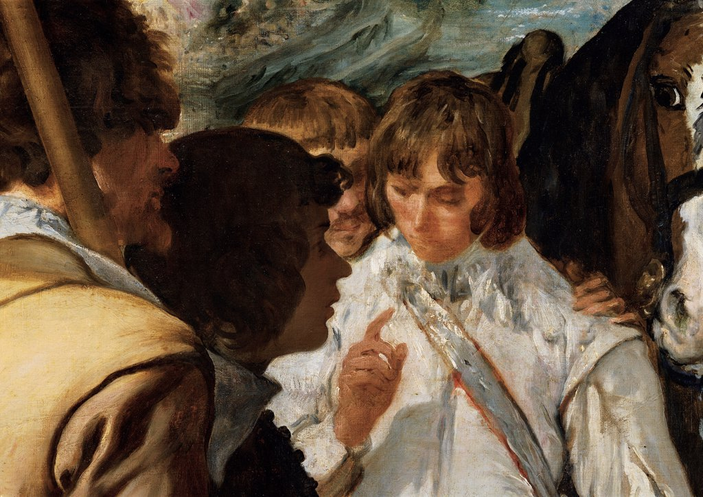 Stock Photo: 1899-33141 The Surrender of Breda (Las lanzas), by Velázquez Diego Rodriguez de Silva y, 1633 - 1635, 17th Century, oil on canvas. Spain, Prado National Museum. Detail. Young officer on the left characters of general defeated parade.