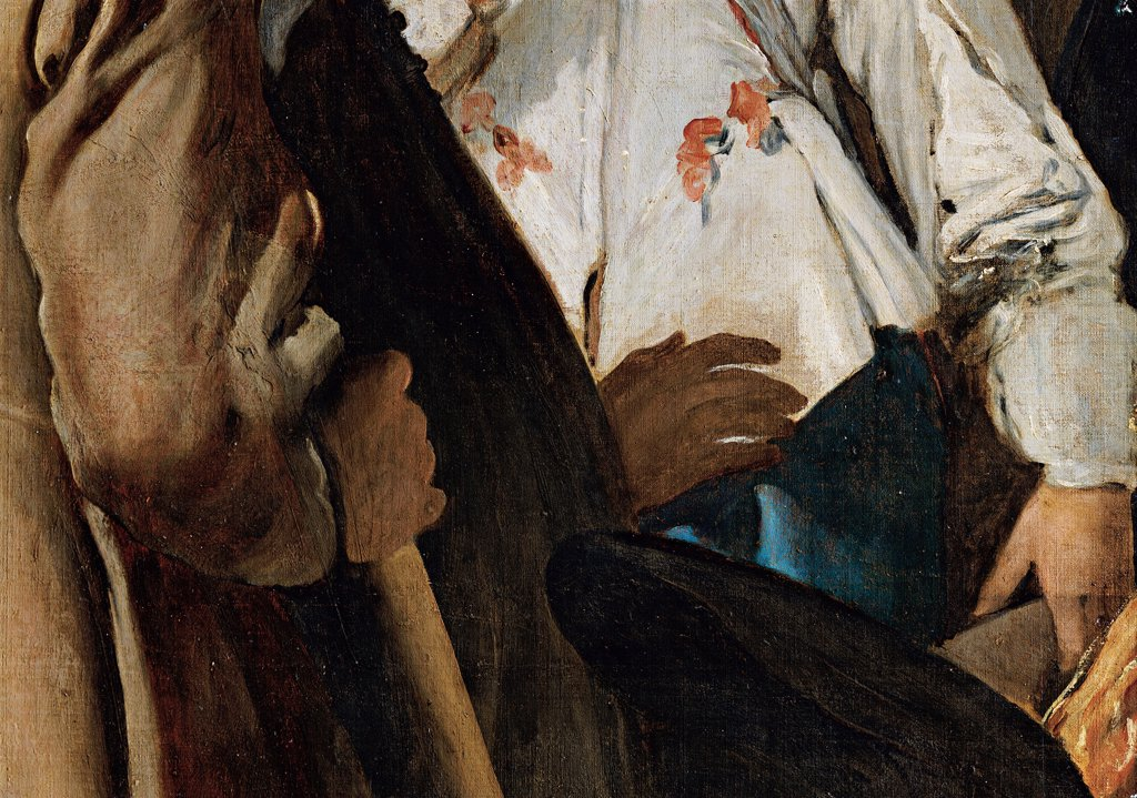 Stock Photo: 1899-33155 The Surrender of Breda (Las lanzas), by Velázquez Diego Rodriguez de Silva y, 1633 - 1635, 17th Century, oil on canvas. Spain, Prado National Museum. Detail. Young officer suit: dress on the left detaining the won general's horse.