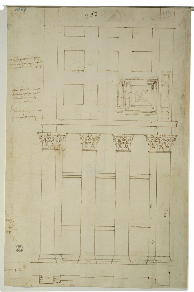 Elevation study of the passageway connecting the ambulatory and the cross passageway of the St Peter's Basilica in Rome, by Cordini Antonio known as Antonio da Sangallo the Younger, 1518 - 1519, 16th Century, pen, ink, stylus. Italy, Tuscany, Florence, Uffizi Gallery, Drawings and Prints Cabinet. Whole artwork. Sheet drawing elevation columns dimensions study ambulatory St Peter's Basilica capitals vault. : Stock Photo