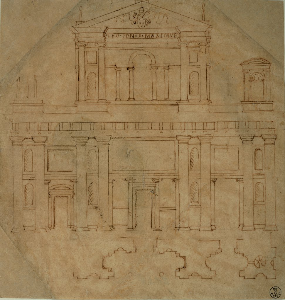 Stock Photo: 1899-33221 Copy of Raphael's facade layout/design/plan of the San Lorenzo church in Florence, by derivation Sanzio Raphael, probably Sangallo Bastiano detto Aristotile, 1518 - 1519, 16th Century, pen on paper. Italy, Tuscany, Florence, Uffizi Gallery, Drawings and Prints Cabinet. Whole artwork. Sheet facade San Lorenzo church elevation.