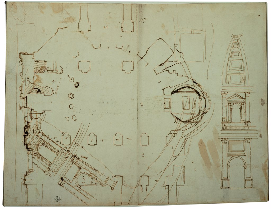 Stock Photo: 1899-33230 Layout/plan/design of San Giovanni dei Fiorentini in Rome, by Cordini Antonio known as Antonio da Sangallo the Younger, 1518, 16th Century, pen and ink. Italy, Tuscany, Florence, Uffizi Gallery, Drawings and Prints Cabinet. Whole artwork. Sheet drawing study plan detail outside: external elevation.