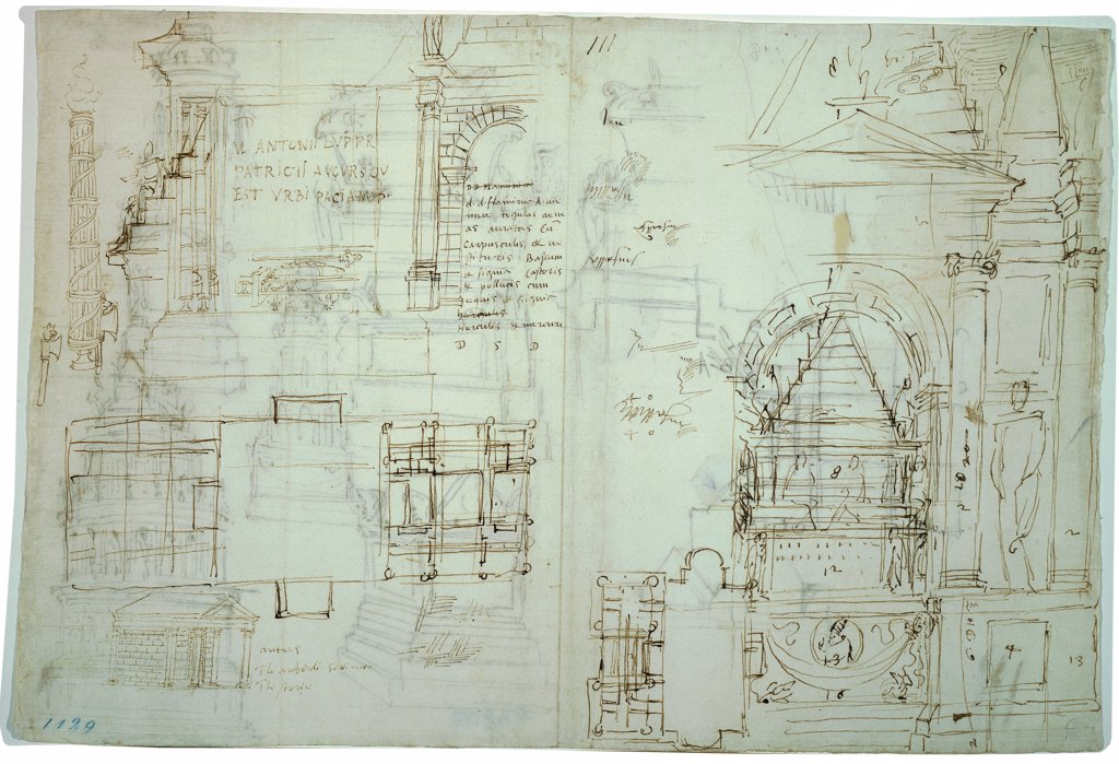 Studies for the Mausoleum of the Marchese Francesco Gonzaga , by Sangallo Antonio da, 16th Century, ink on paper. Italy, Tuscany, Florence, Uffizi Gallery, Drawings and Prints Cabinet. Whole artwork. Sheet drawing sketches funerary: burial monument: mausoleum small temple notes. : Stock Photo