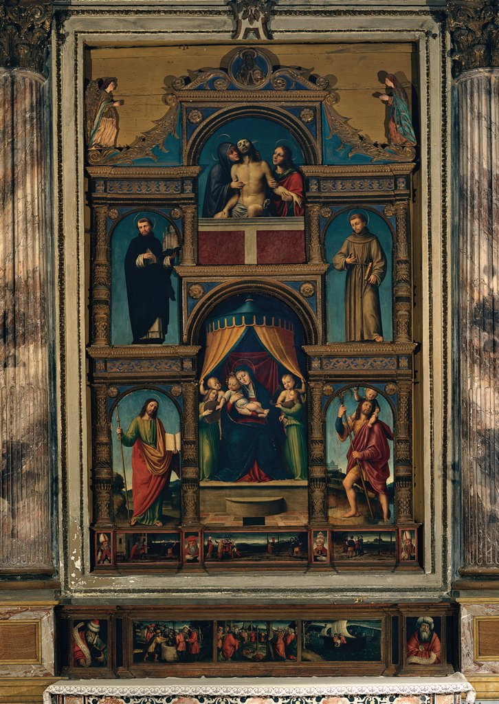 Polyptych with Madonna and Child Enthroned, by attributed De Ferrari Bernardino, 16th Century, panel. Italy, Lombardy, Vigevano, Pavia, Cathedral. Whole artwork. Polyptych altarpiece Madonna Enthroned Virgin Mary canopy: baldachin lamentation dead Christ Madonnas afflicted saints. : Stock Photo