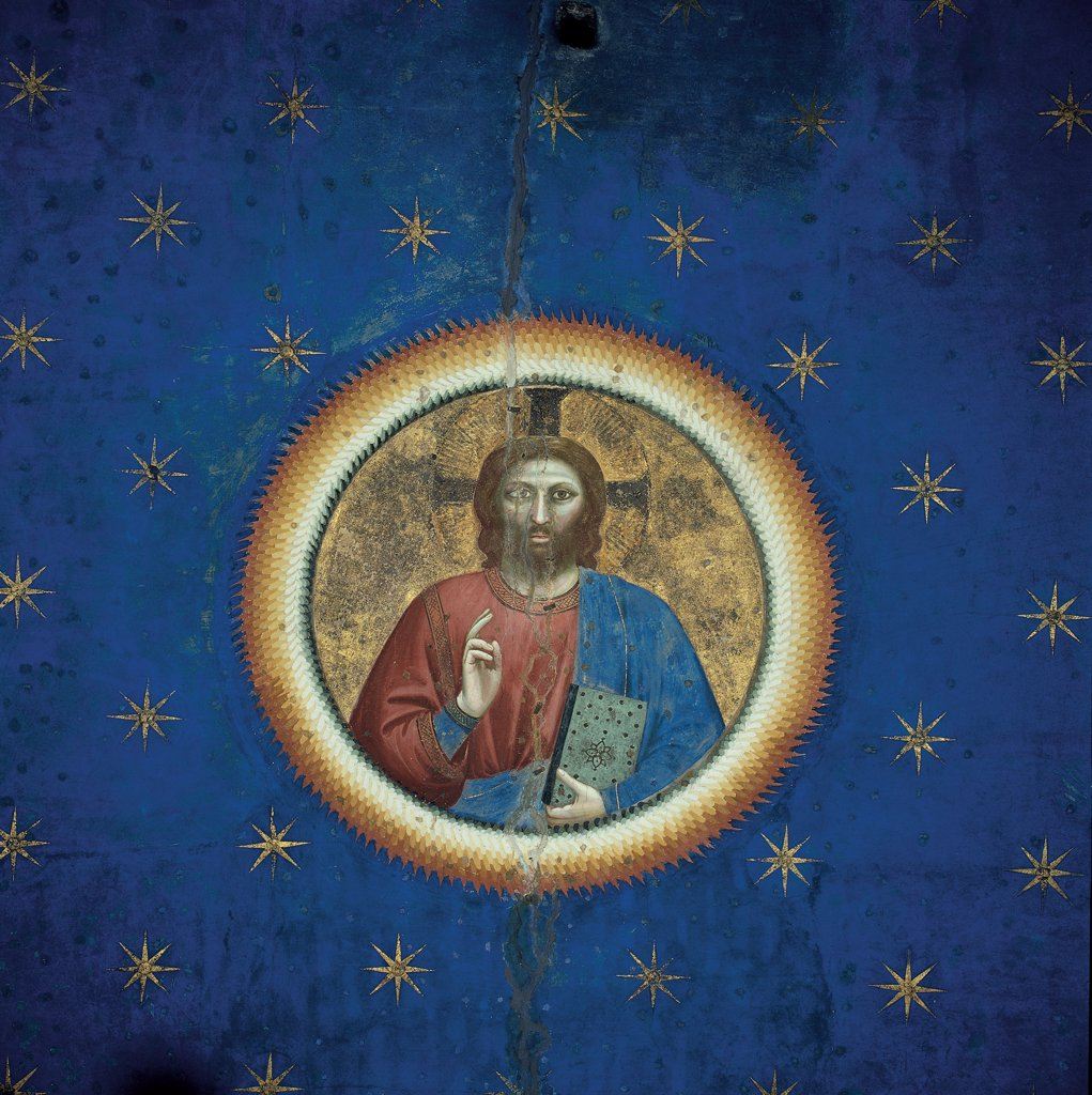 Stock Photo: 1899-33271 Fresco cycle in the Scrovegni Chapel, by Giotto, 1304 - 1306, 14th Century, fresco. Italy, Veneto, Padua, Scrovegni Chapel. Detail of the vault, Christ Pantocrator Redeemer starry blue sky gold halo: aureole.