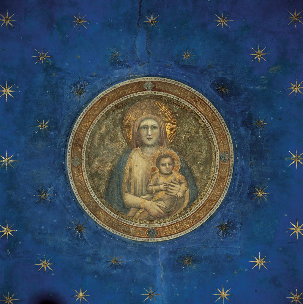 Fresco cycle in the Scrovegni Chapel, by Giotto, 1304 - 1306, 14th Century, fresco. Italy, Veneto, Padua, Scrovegni Chapel. Detail. Vault tondo Madonna and Child starry sky blue gold. : Stock Photo