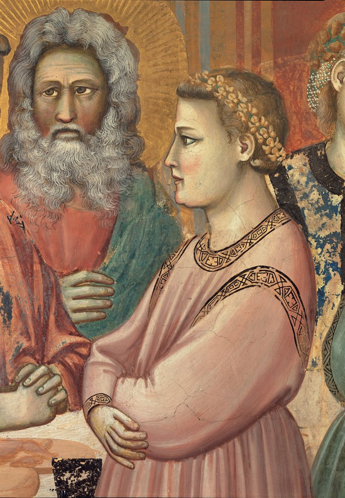 Stories of Christ of The Wedding at Cana/The Marriage Feast at Cana, by Giotto, 1304 - 1305, 14th Century, fresco. Italy, Veneto, Padua, Scrovegni Chapel. Detail. Scenes from the Life of Christ of Marriage of Cana, bride crown gold dress. garment pink character commensal. dinner guest halo. aureole gold rays red green beige brown tones. hues. : Stock Photo